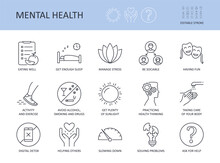 Icons 15 Top Tips For Good Mental Health. Editable Stroke. Get Enough Sleep Eating Well. Avoid Alcohol, Smoking Manage Stress. Activity And Exercise Sociability Taking Care Of Your Body Digital Detox