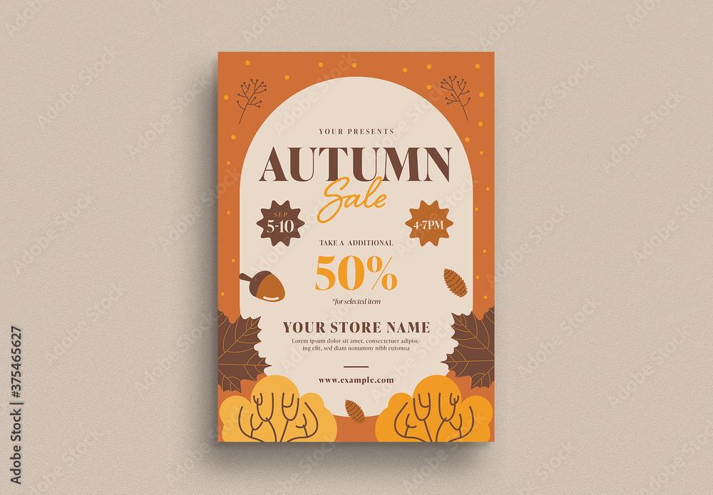 Fototapeta Autumn Sale Flyer Layout