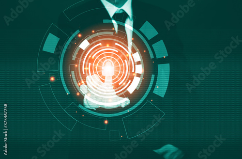 Businessman Touching in graph Screen code of a media screen on the White backgro Fototapet
