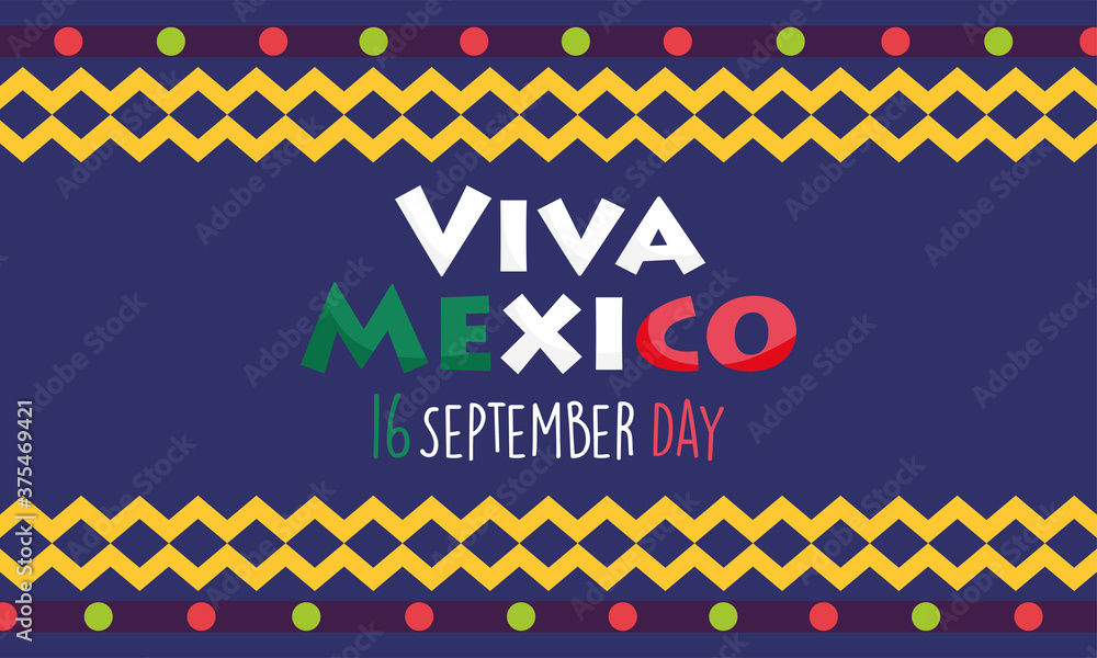 Fototapeta mexican independence day, colored banner festival viva mexico is celebrated on september