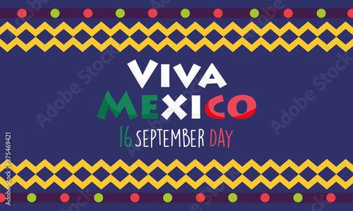 Fotomural mexican independence day, colored banner festival viva mexico is celebrated on s