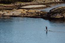 Surfer Paddling Towards Shore
