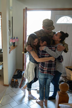 Happy Family Greeting Army Sol...