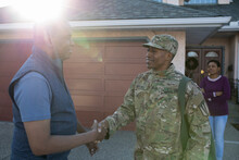Father And Army Soldier Son Sh...