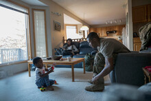Toddler Son Watching Soldier F...