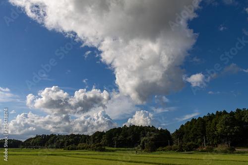 Obraz na plátně 巨大な層積雲が舞う秋景色