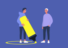 A Character Drawing A Line Around Themselves With A Neon Yellow Highlighter, A Virus Spread Prevention, Personal Boundaries
