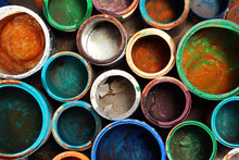 Old Dirty Paint Cans As Background
