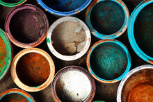 Old Dirty Metal Paint Cans As Background