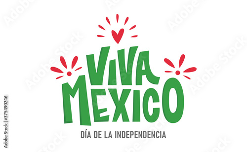 Viva Mexico, colorful lettering with flag colors Fototapeta