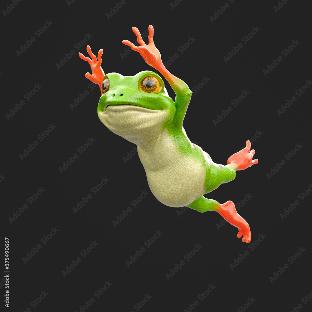 Fototapeta cute little frog is jumping isolated