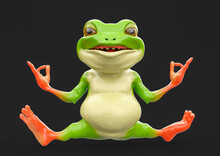 Cute Little Frog Is Doing A Relexed Yoga Pose Isolated