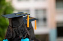 Back View Of A Female Graduate...