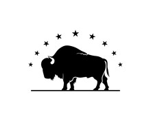 Buffalo Silhouette With Stars On Top