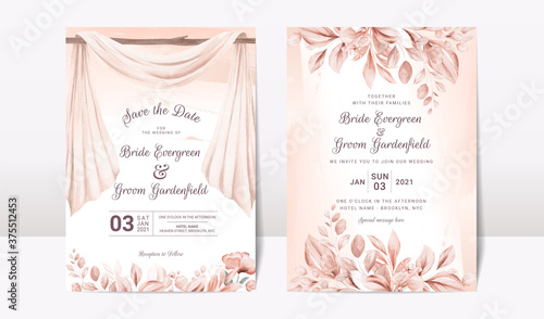 Elegant cards mockup with floral overlay shadows Tableau sur Toile