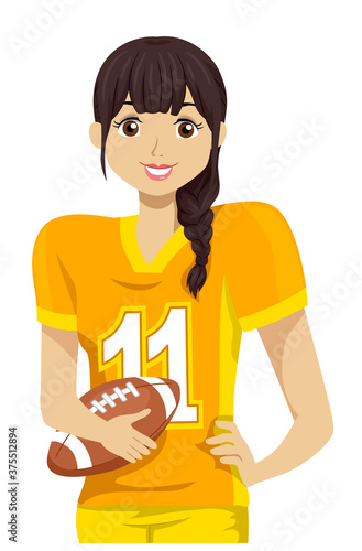 Teen Girl Tackle Football Player Illustration