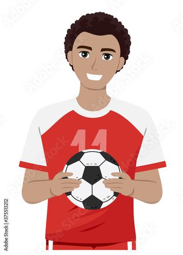 Teen Guy Black Hold Ball Soccer Illustration