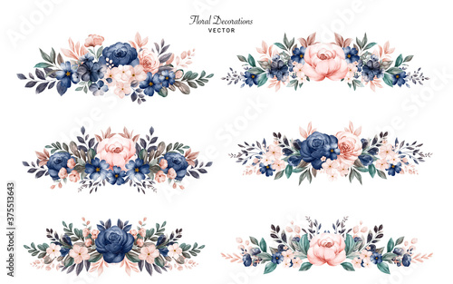 Obraz Set of watercolor floral frame bouquets of navy and peach roses and leaves. Botanic decoration illustration for wedding card, fabric, and logo composition - fototapety do salonu