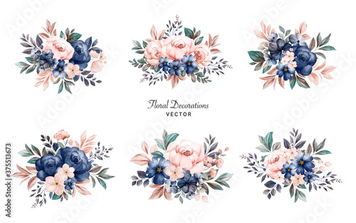 Fotografia, Obraz Set of watercolor floral frame bouquets of navy and peach roses and leaves