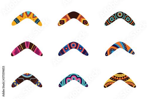 Australian aboriginal boomerang cartoon set, flat vector illustration isolated Canvas Print