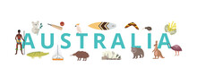 Travel To Australia Banner With Landmarks And Native Signs Vector Illustration.