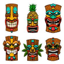 Сет Of Illustrations Of Tiki Tribal Wooden Mask. Design Element For Logo, Emblem, Sign, Poster, Card, Banner. Vector Illustration