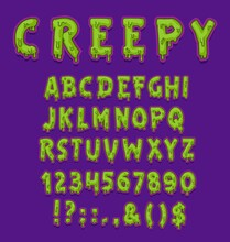 Creepy Halloween Font Of Vector Green Slime Type With Capital Letters And Digits Or Numbers. Horror Alphabet Of Spooky Zombie Monster Or Alien Toxic Goo With Slimy Drops And Radioactive Glow