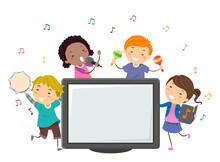 Stickman Kids Perform Karaoke Monitor Illustration