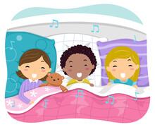 Stickman Kids Singing Bed Time Covers Illustration