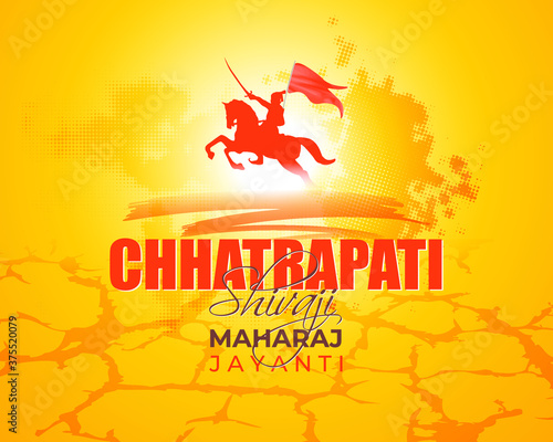 Obraz na plátně Vector illustration of chhatrapati shivaji maharaj jayanti, Indian warrior Emperor Shivaji