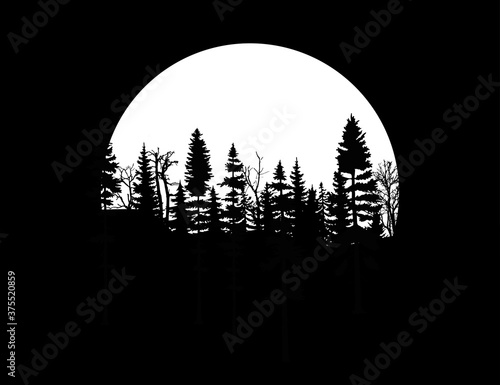 Fototapety, obrazy: moon and tree.night sky with full moon, stars and silhouette of pine trees.Vector night landscape. Stars, moon, panorama, gloomy forest.