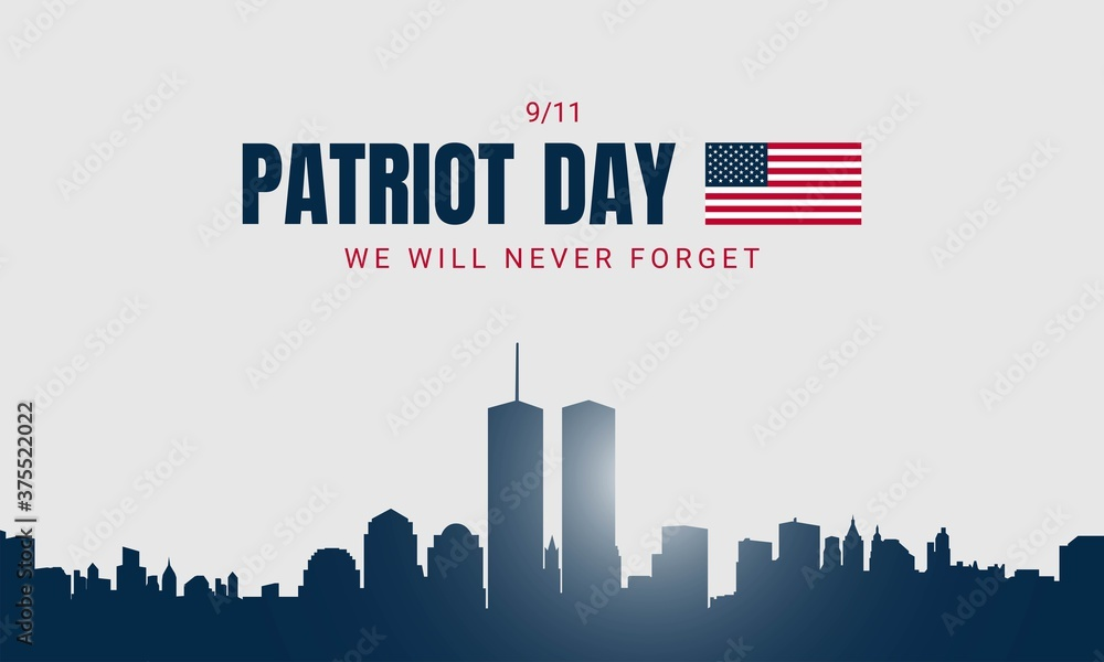 Fototapeta Patriot Day Background with New York City Silhouette. - obraz na płótnie