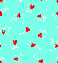 Hand Writing I Love You Text With Red Hearts Repeating Vector Pattern Isolated Background