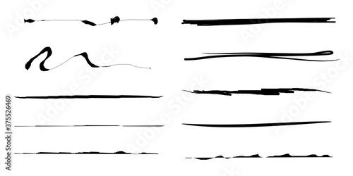 Fotografía collection of hand drawn lines, brush lines, brush strokes, underlines