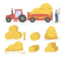 Tractor With Hay Cartoon Illustration. Vector Set Of Hay Icons Set Isolated On White Background. Straw, Haystack And Hayloft.
