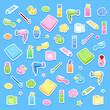 Bathroom elements isolated - Hygiene accessories for kids - Daily routine - Blue background