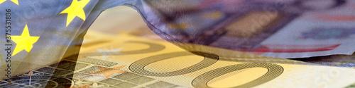 Euro Geldscheine und Flagge der Europäischen Union EU Canvas Print