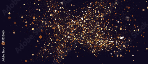 Golden abstract glitter background with bokeh particles Billede på lærred