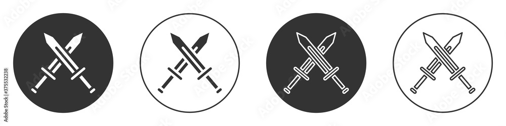 Fototapeta Black Crossed medieval sword icon isolated on white background. Medieval weapon. Circle button. Vector.