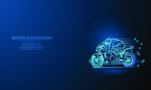Racing On Blue Abstract Background. Simple Blue Background. Starlight Background