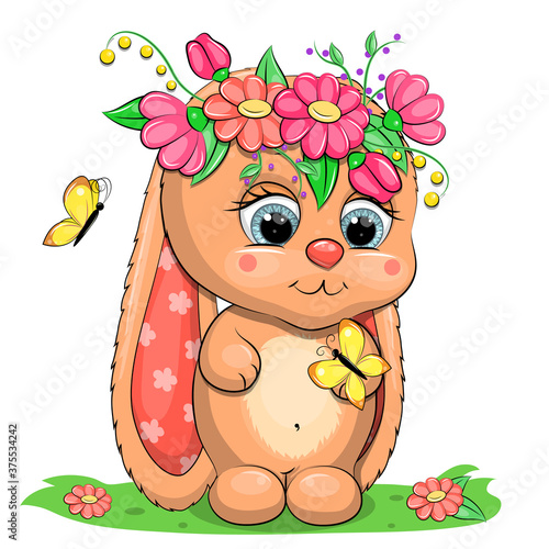 Cute cartoon baby rabbit with flowers and butterflies. Vector illustration of animal isolated on white. #375534242