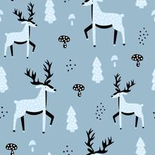 Cute Seamless Pattern With Blue Deer.