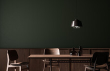 Modern Style Dining Room With Wooden Chair And Table.  Minimalist Dark Dining Room Design. 3D Illustration.