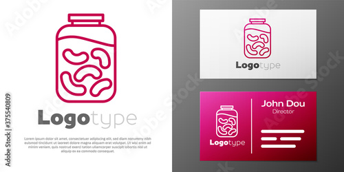 Logotype line Pickled cucumbers in a jar icon isolated on white background Poster Mural XXL