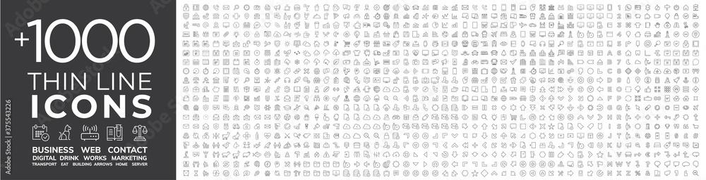 Fototapeta Mega collection of 1000 thin line Web icon. Business, finance, shopping, logistics, medical,...