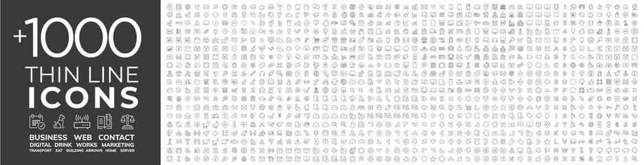 Fototapeta Berlin Mega collection of 1000 thin line Web icon. Business, finance, shopping, logistics, medical,...