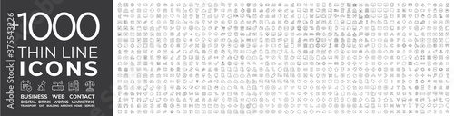 Mega collection of 1000 thin line Web icon. Business, finance, shopping, logistics, medical,... - 375543226