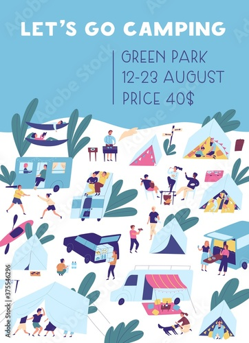 Obraz Vertical poster template for camping vacation with place for text. People relaxing in nature outdoors. Flat vector cartoon placard with friends and families activity at summer festival in tent city - fototapety do salonu
