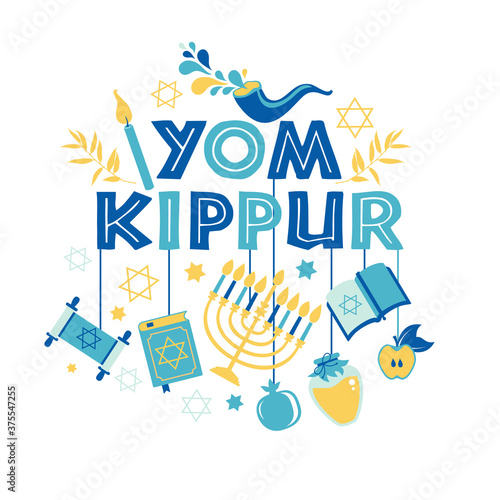 Valokuvatapetti Yom Kippur greeting card with candles, apples and shofar and sybols