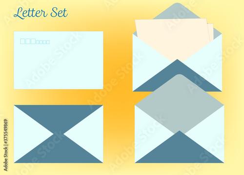 手紙の表と裏、開封・未開封のシンプルなイラスト Fotobehang